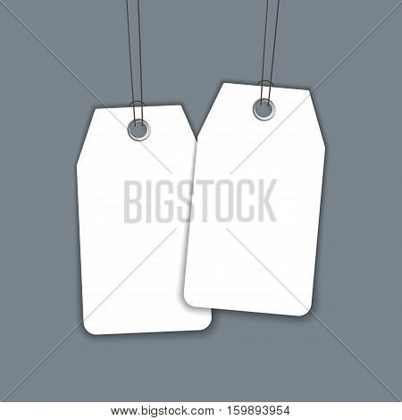 Blank label or tag isolation on dark background. Realistic vector template. Gift tag mock up.