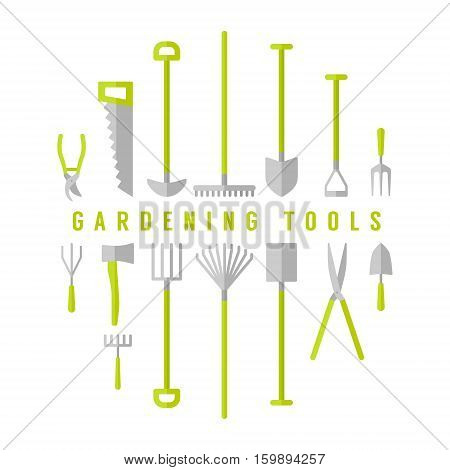 Vector big set, collection of gardening tools.