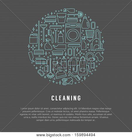 Vector cleaning line icon set, concept or poster. Vacuum cleaner, protective gloves and plunger. Spray bottle,  wipe and squeegee. Sponge and bucket. Mop, brush and duster.