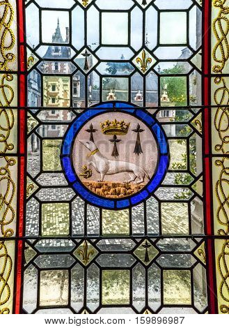 BLOIS,FRANCE-JUNE 2016: Window with decoration blazon in  Blois castle in Loire valley
