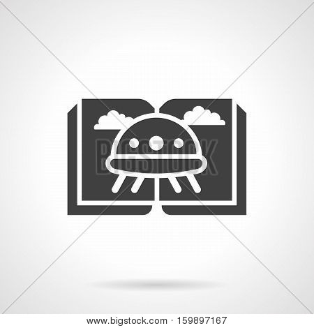 Abstract sign of sci-fi literature genre. Open book with image of UFO or lien flying saucer. Web bookstore, e-library and other. Symbolic glyph style black vector icon.