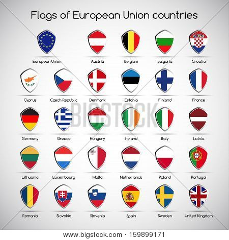Set the flags of European Union countries symbol shield for your infographic vector illustration