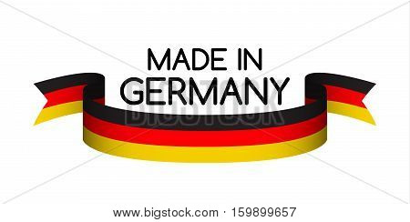 Made in Germany symbol colored ribbon with the German tricolor
