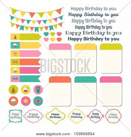 Set Of Birthday Party Design Elements. Template For Notebooks. Monthly Planner. Notes, Stickers, Lab