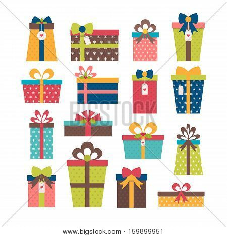 Set Of Different Gift Boxes. Colorful Wrapped Gift Boxes. Birthday Surprise. Christmas Presents. Fla