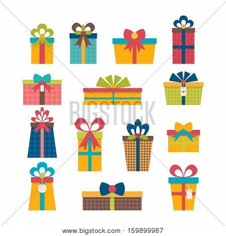 Set Of Different Gift Boxes. Flat Design. Colorful Wrapped Gift Boxes. Birthday Surprise. Christmas
