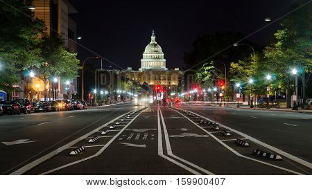 Washington Dc, Usa - October 24, 2016: Us Capitol Street View