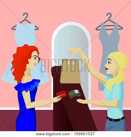 Buyer in shop pays card vector illustration