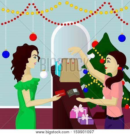 Buyer in shop purchase gifts pays card vector illustration
