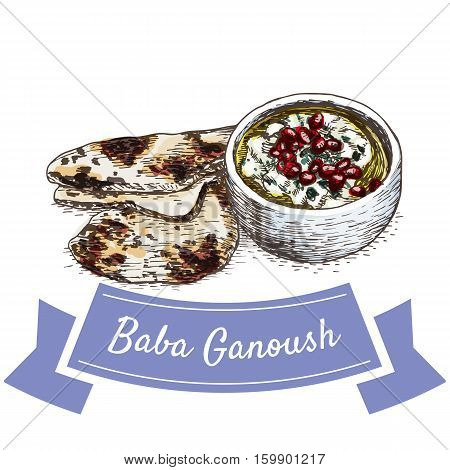 Baba Ganoush colorful illustration. Vector illustration of israeli cuisine.