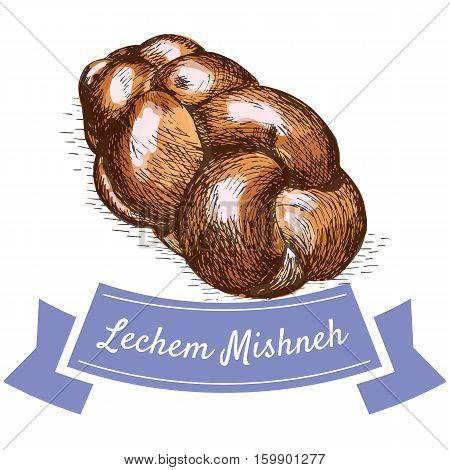 Lechem Mishneh colorful illustration. Vector illustration of israeli cuisine.