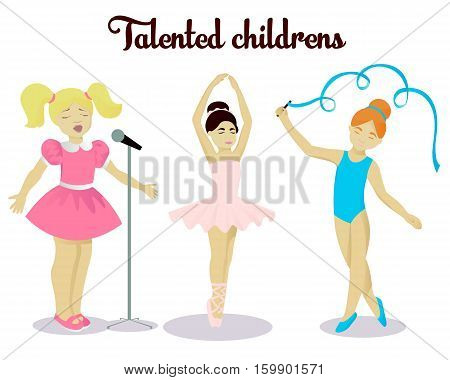 Little talented girls set vector illustration isolated on white