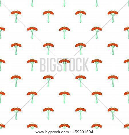 Sausage on fork pattern. Cartoon illustration of sausage on fork vector pattern for web