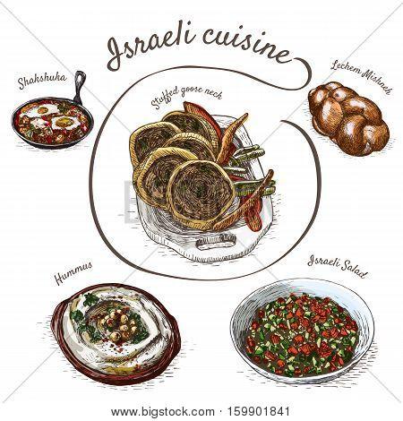 Menu of Israel colorful illustration. Vector illustration of indian cuisine.