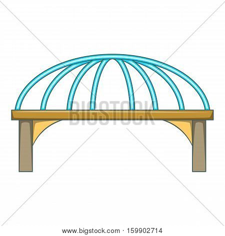 Bridge with steel supports icon. Cartoon illustration of bridge vector icon for web design