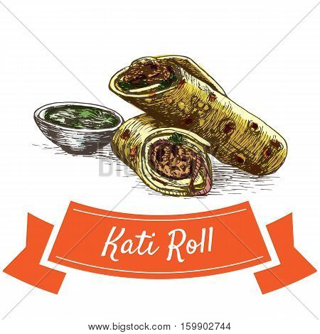 Kati Roll colorful illustration. Vector illustration of Indian cuisine.