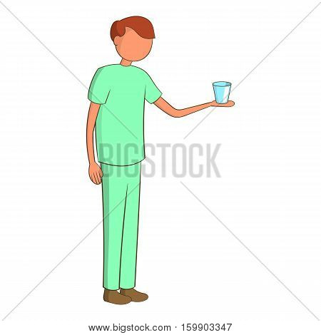 Male nurse with a glass icon. Cartoon illustration of male nurse vector icon for web design