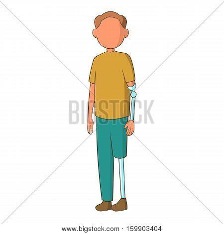 Man with prostheses icon. Cartoon illustration of man with prostheses vector icon for web design