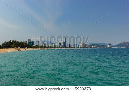 East coast city skyline of Nha Trang Vietnam.
