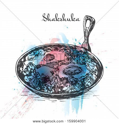 Shaksuka watercolor effect illustration. Vector illustration of Israeli cuisine.