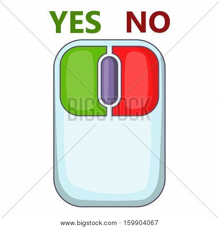 Computer mouse with red and green buttons icon. Cartoon illustration of computer mouse with red and green buttons vector icon for web