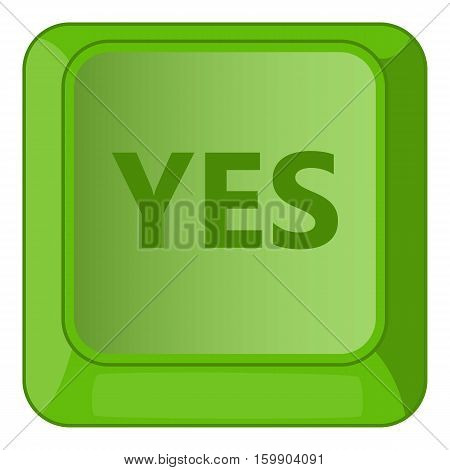 Yes green button icon. Cartoon illustration of yes green button vector icon for web