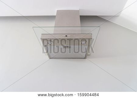 hood cooking on white wall for manage smell in kitchen - can use to display or montage on product