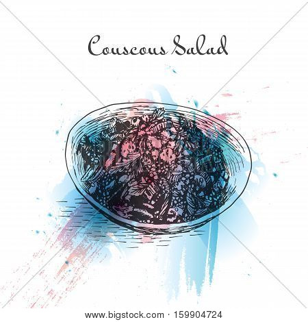 Couscous salad watercolor effect illustration. Vector illustration of Israeli cuisine.