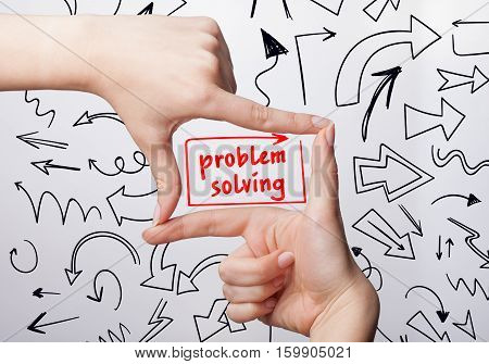 Technology, Internet, Business And Marketing. Young Business Woman Writing Word: Problem Solving