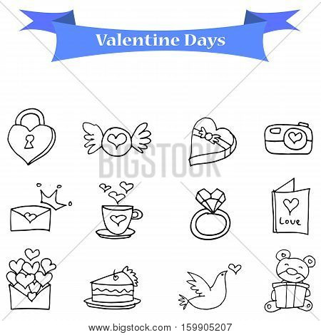 Illustration vector valentine day icons collection stock