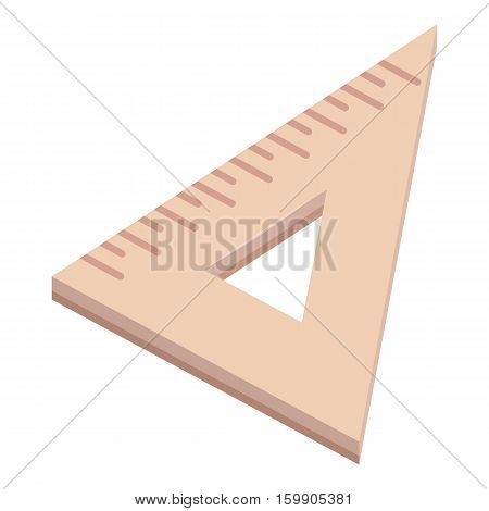 Triangle wooden ruler icon. Cartoon illustration of triangle wooden ruler vector icon for web