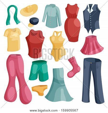 Kinds of clothing icons set. Cartoon illustration of 16 kinds of clothing vector icons for web