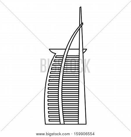 Hotel Burj Al Arab, United Arab Emirates icon. Outline illustration of hotel Burj Al Arab in United Arab Emirates vector icon for web