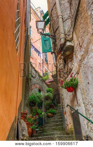 Steep Alley In Riomaggiore, Italy