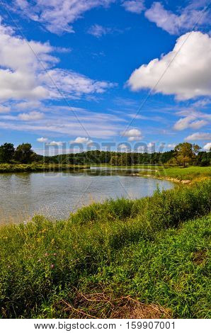 Blue sky with white clouds, overlooking bright green riverbank