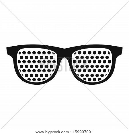 Black pinhole glasses icon. Simple illustration of black pinhole glasses vector icon for web