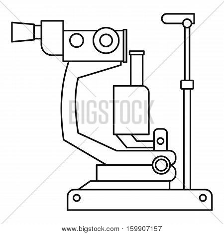 Phoropter, ophthalmic testing device machine icon. Outline illustration of phoropter, ophthalmic testing device machine vector icon for web