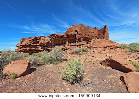 Ruins of Wukoki pueblo in Wupatki National Monument north of Flagstaff Arizona