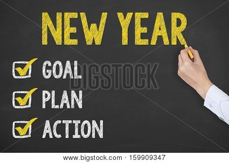 Human Hand Writing New Year 2017 Resolutions on Chalkboard Background