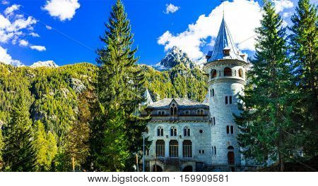 Romantic castles of Valle d'Aosta in alpine mountains . Savoy castle