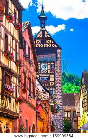Most beautiful villages of France - Riqewihr in Alsace region