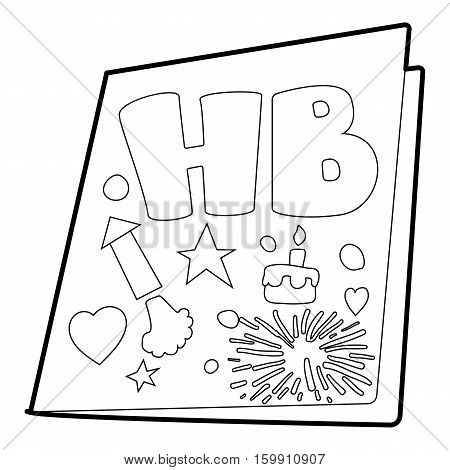 Postcard icon. Outline illustration of postcard vector icon for web