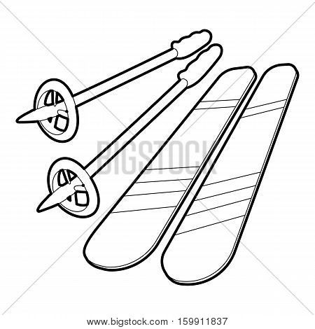 Skiing icon. Outline illustration of skiing vector icon for web