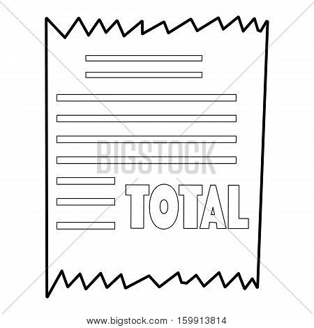 Receipt icon. Outline illustration of receipt vector icon for web