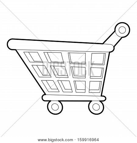 Shopping cart icon. Outline illustration of shopping cart vector icon for web