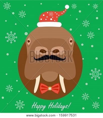 Christmas Walrus. Flat style illustration. Head of a Walrus in the Christmas hat, and with a tie-butterfly. Christmas Greeting Card.