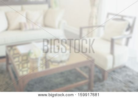 Blurred Living Room Interior With Set Of Elegant Teacup For Background