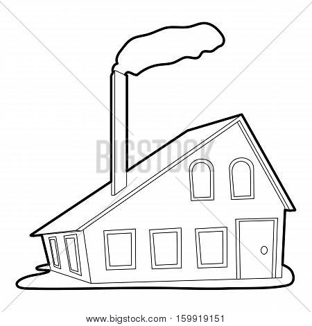 House with chimney icon. Outline illustration of house with chimney vector icon for web