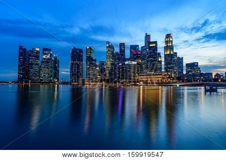 Singapore - November 24, 2016: Downtown Urban Landscape Of Singapore. Skyline And Modern Skyscrapers