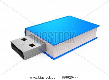 Book with USB Plug isolated on white background. 3D render